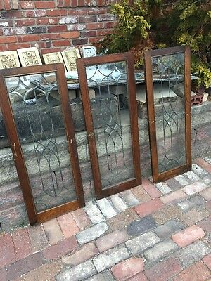 Sg 1150 Set Of Three Matching Antique Beveled Glass Cabinet Doors