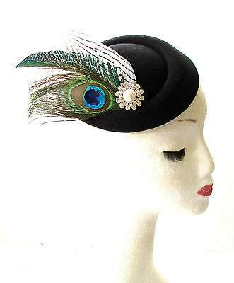 Black White Green Peacock Feather Pillbox Hat Races Fascinator Headpiece 1832