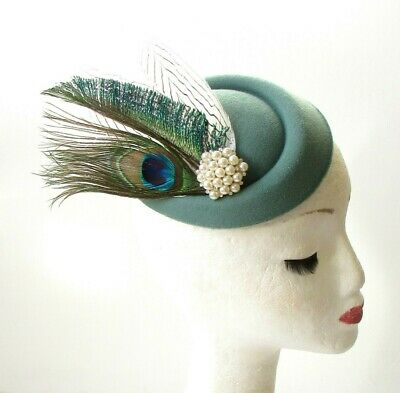 Sage Green White Peacock Feather Pillbox Hat Races Fascinator Headpiece Vtg 1833