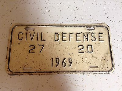 "1969 INDIANA LICENSE PLATE  original paint FREE SHIPPING ""civil defense"""