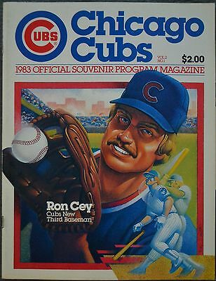 1983 Chicago Cubs Game Program Ron Cey Cover