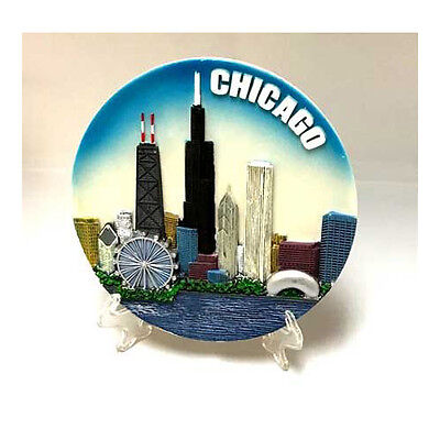 "Chicago Souvenir Plate w/ easel & hanging hook - Colorful - 6"" - New - Resin"