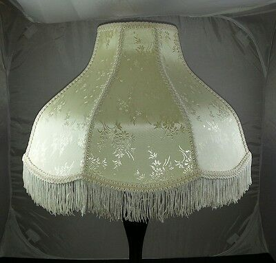 EXQUISITE VTG CREAM LACE FRINGED Victorian FLOOR LAMP SHADE SCALLOPED EDGES
