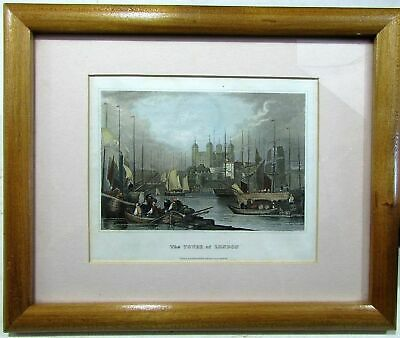 Tower of London England c. 1840 Meyer engraved hand color framed print nice gift