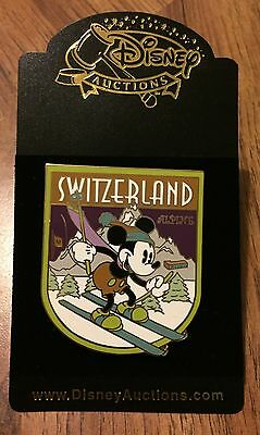 Disney Auctions Mickey Mouse Skiing in Switzerland Swiss Alps LE 1000 Pin NEW