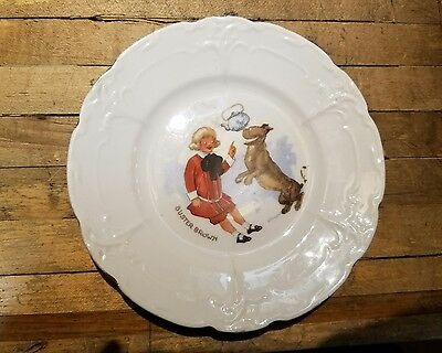 """6"""" Porcelain Buster Brown & Tighe DOG Child's PLATE  ROUND Toy Advertising"""