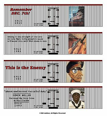 WW2 Remember Dec 7th, Pearl Harbor 60-car train set, On30 scale printed sides