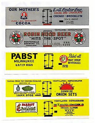 Old Time set #3 boxcar reefers, TT scale printed sides inc. Robin Hood Beer