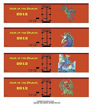 Four TT scale boxcars YEAR OF THE DRAGON printed sides