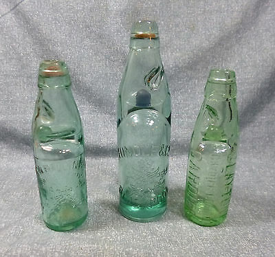 3 Antique Mineral Water Codd Bottles - Wales & England