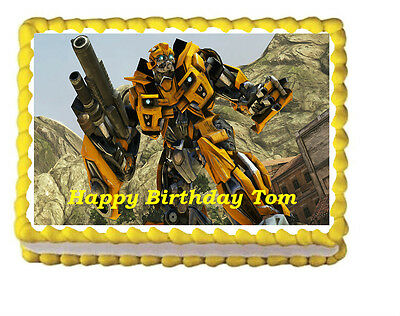 Transformers Bumblebee Birthday Party Icing Edible Cake Topper 1/4 sheet