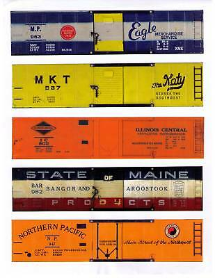 AMERICAN FLYER printed sides for 5 different boxcars, TT scale, set 1