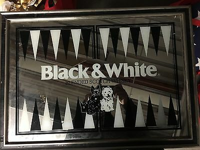Black & White Scotch Whisky Wall Mirror Rare