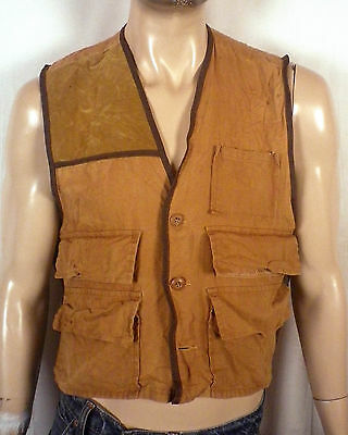 vtg 70s Duck Bay Duck Canvas Hunting Vest suede rifle pad SZ M