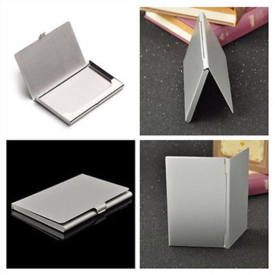 Metal Silver Box Stainless ID Namecard Clip Business Waterproof Card Case