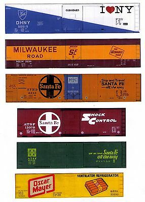 6 boxcars TT scale sides, 40 & 50 foot unusual printed sides