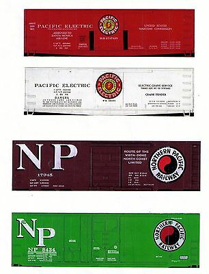 Pacific Electric Rwy & Northern Pacific boxcars & reefers TT scale printed sides
