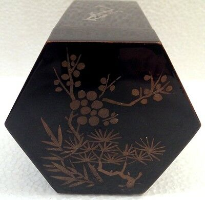 Vintage Japanese Black Lacquer Box Hexagonal Painted Estate Find c. 1970s
