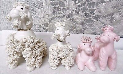 4 VTG ceramic Poodle puppies dog 2 Pink 2 White Spaghetti Japan? Inarco? Thames?