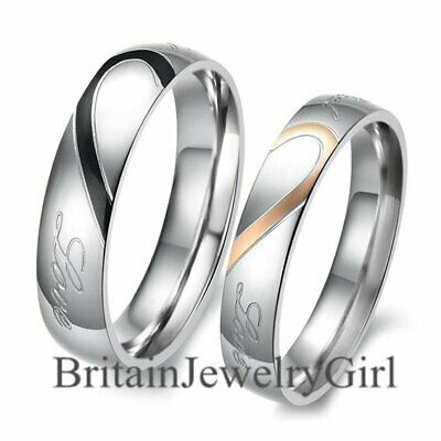 "Lover's Heart Shape Stainless Steel Promise Ring "" Real Love "" Engagement Band"