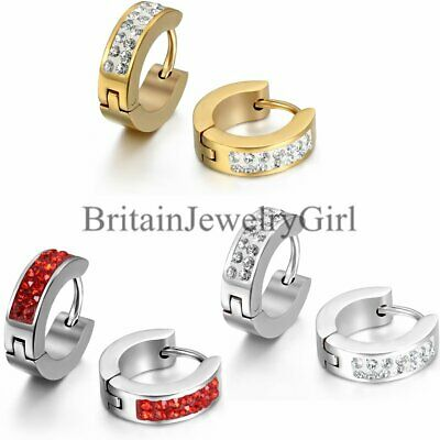 2PCS Men Women Stainless Steel Rhinestone Earring Hoop Huggies Ear Stud Earrings