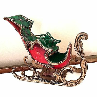 "Christmas Tree Ornaments Sleigh Coach Red Green Plastic 6""x 5"" Santa Clause Vtg"