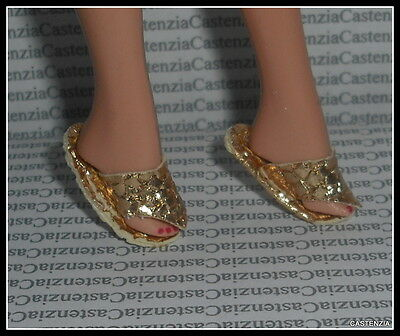 Shoes Barbie Egyptian Queen  Doll Gold Ornate Flat Sandals Accessory Clothing