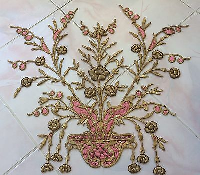 Huge Antique Ottoman Turkish Gold Metallic Hand Embroidery For Applique