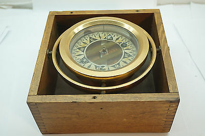 VINTAGE MARINE COMPASS BRASS WOOD DIRIGO SEATTLE GIMBALLED 7.75in SQUARE BOX
