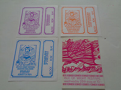 Jimi Hendrix Concert Ticket Isle Of Wight 1970 Full 4 Day Set... Rare