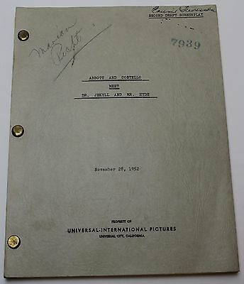 Abbott and Costello Meet Dr. Jekyll and Mr. Hyde * 1953 Movie Script Screenplay