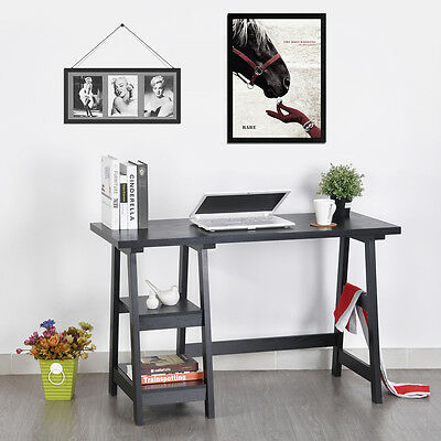 Wooden Writing Desk Table Storage Ladder 2 Shelves Bookcase Office Home MDF PB