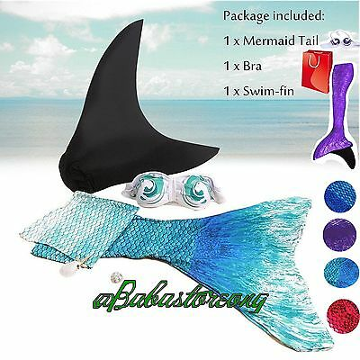 Swimmable Mermaid Tail with Monofin!Swim Fin&bra Included.3pcs Swimsuit For kids