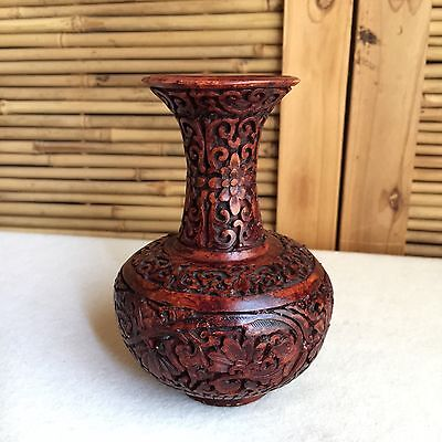 VINTAGE Antique? CARVED Chinese CHESTNUT Brown CINNABAR Lacquer VASE ~ SIGNED