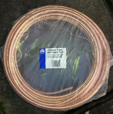 10mm x 20m microbore plumbing copper coil tube pipe New Sealed