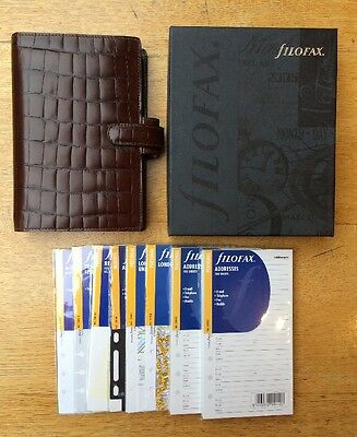 New FILOFAX Personal Balmoral Brown Croc Italian Leather Vintage Discontinued