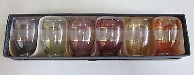 Set of Six Vintage Multi-Coloured and Gold Trimmed Glasses in Box - 1950s