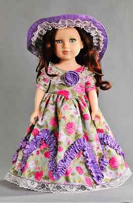 Handmade New Purple Clothes Dress for 18 Inch American Girl Doll With TOP HAT