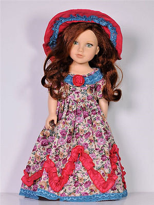 Handmade New Red Clothes Dress for 18 Inch American Girl Doll With TOP HAT