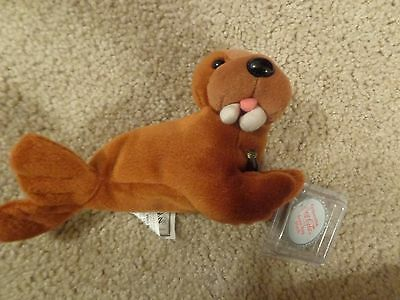 New 1998 Coca-Cola Coke Beanie Baby Babies Walrus With Coca-Cola Bottle