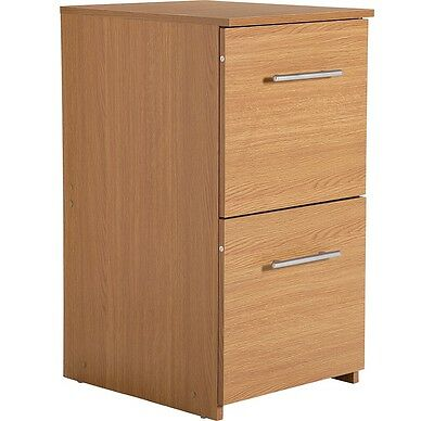 Oak Effect 2 Drawer Filing Cabinet Wood Effect Office Cabinet Filing Storage NEW