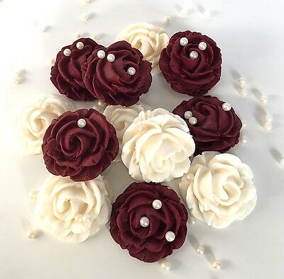 Ivory/Cream & Burgundy Roses Bouquet Edible Flowers Cake Decorations Toppers
