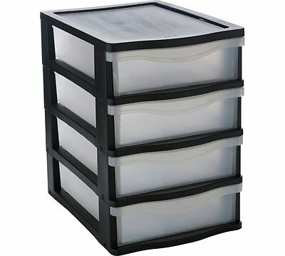 Black A4 Desk Top Drawer Tower File Storage File Organizer Office Cabinet New
