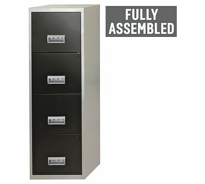 Metal 4 Drawer Filing Cabinet Silver Office Files Organizer Office Cabinet Black