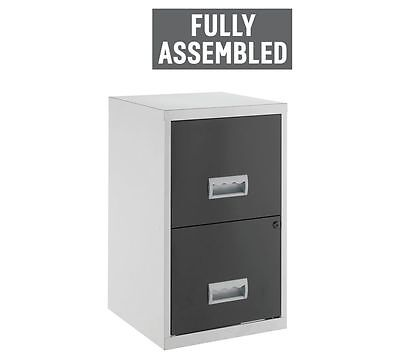 Black Metal 2 Drawer Filing Cabinet File Organizer Office Cabinet New Silver