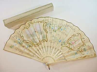 Antique Hand Painted Rare Regency Period Fan in Original Tooled Leather Case