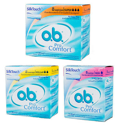 O.B. Leak Protection Design to Custom-Fit Each Woman Body Extra Care 8 Tampons