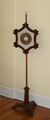 Antique Pole Fire Screen 58 1/2 inches tall Adjustable Tiger Maple Needle Work