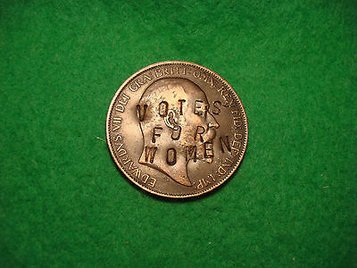 1906 Suffragette  Defaced Votes For Women Edwardian Penny Coin Very Rare, Aa60