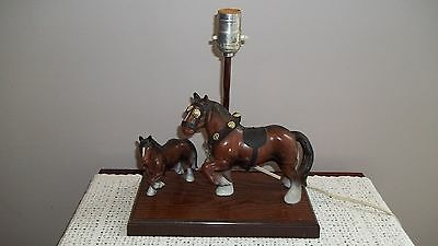 Vintage Tv Table Lamp Clyesdale Horse And Pony 1960's Plastic Gilbert Products